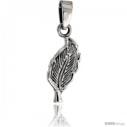 Sterling Silver Leaf Pendant, 3/4 in tall