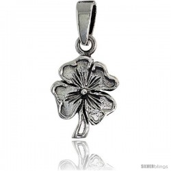 Sterling Silver Clover Pendant, 5/8 in tall
