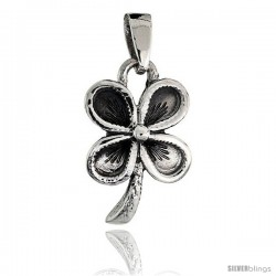 Sterling Silver 4-Leaf Clover Pendant, 3/4 in tall