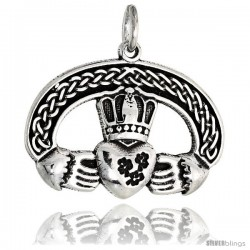 Sterling Silver Claddagh Pendant, 1 in wide