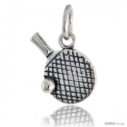 Sterling Silver Ping Pong Racquet & Ball Pendant, 1/2 in wide