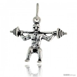 Sterling Silver Weightlifter Pendant, 1 in tall