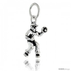Sterling Silver Baseball Catcher Pendant, 3/4 in tall
