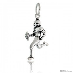 Sterling Silver Football Player Pendant, 7/8 in tall -Style Pa2193
