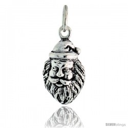 Sterling Silver Viking Man Head Pendant, 7/8 in tall