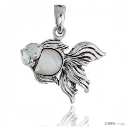 Sterling Silver Angel Fish Mother of Pearl Pendant, 7/8 in wide