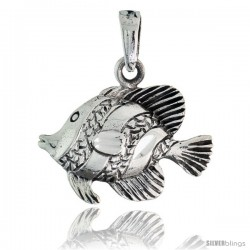 Sterling Silver Fish Pendant, 7/8 in wide