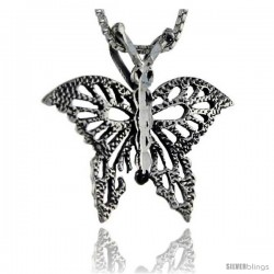 Sterling Silver Butterfly Pendant, 1 1/16 in tall