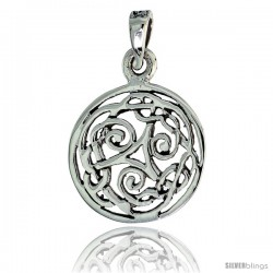 Sterling Silver Celtic Whirl Round Pendant, 3/4 in