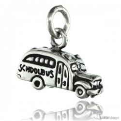 Sterling Silver Tiny School Bus Pendant, 3/4 in tall