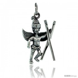 Sterling Silver Guardian Angel Cave Man Pendant 15/16 in. (24 mm), Oxidized Finish