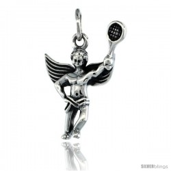 Sterling Silver Guardian Angel Tennis Player Pendant 7/8 in. (22 mm), Oxidized Finish