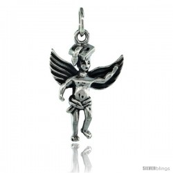Sterling Silver Guardian Angel Graduate Pendant 7/8 in. (23 mm), Oxidized Finish