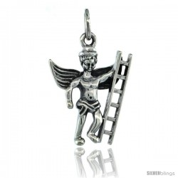 Sterling Silver Guardian Angel Fireman Pendant 13/16 in. (21 mm), Oxidized Finish