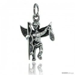 Sterling Silver Guardian Angel Fisherman Pendant 13/16 in. (20 mm), Oxidized Finish