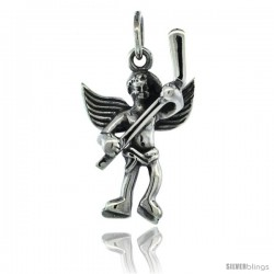 Sterling Silver Guardian Angel Hockey Player Pendant 15/16 in. (24 mm), Oxidized Finish