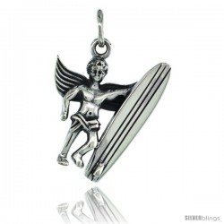 Sterling Silver Guardian Angel Surfer Pendant 7/8 in. (22 mm), Oxidized Finish