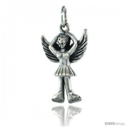 Sterling Silver Guardian Angel Ballet Dancer Pendant 7/8 in. (22 mm), Oxidized Finish