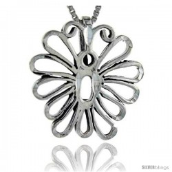 Sterling Silver Cut-out Butterfly Pendant, 1 in tall
