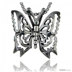 Sterling Silver Butterfly Pendant, 3/4 in tall