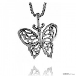Sterling Silver Butterfly Pendant, 3/4 in tall -Style Pa228
