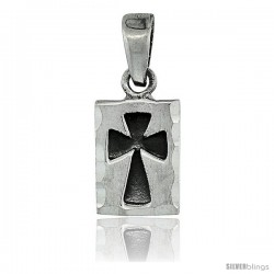 Sterling Silver St. John's Cross Pendant, tiny 5/8 in long