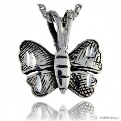 Sterling Silver Butterfly Pendant, 5/8 in tall