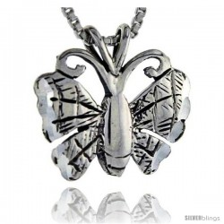Sterling Silver Butterfly Pendant, 3/4 in tall -Style Pa234