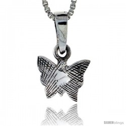 Sterling Silver Teeny Butterfly Pendant, 1/2 in tall -Style Pa239