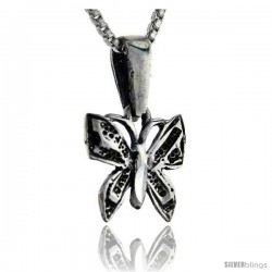 Sterling Silver Teeny Butterfly Pendant, 5/8 in tall -Style Pa241