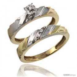 14k Gold 2-Pc Diamond Engagement Ring Set w/ 0.049 Carat Brilliant Cut Diamonds, 5/32 in. (4mm) wide