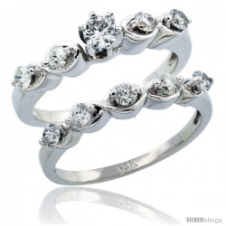 14k White Gold 2-Piece Diamond Engagement Ring Band Set w/ 0.73 Carat Brilliant Cut Diamonds, 1/8 in. (3mm) wide