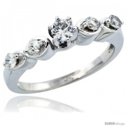 14k White Gold Diamond Engagement Ring w/ 0.43 Carat Brilliant Cut Diamonds, 1/8 in. (3mm) wide