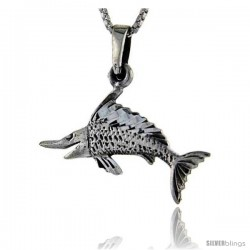 Sterling Silver Swordfish Pendant, 1 1/8 in tall