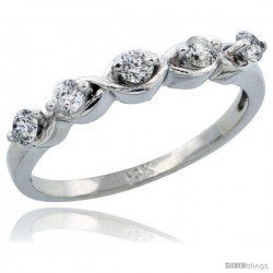 14k White Gold Ladies' Diamond Ring Band w/ 0.30 Carat Brilliant Cut Diamonds, 1/8 in. (3mm) wide
