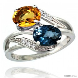 14k White Gold ( 8x6 mm ) Double Stone Engagement London Blue Topaz & Citrine Ring w/ 0.07 Carat Brilliant Cut Diamonds & 2.34