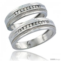 14k White Gold 2-Piece His (6.5mm) & Hers (6mm) Diamond Wedding Ring Band Set w/ 0.60 Carat Brilliant Cut Diamonds