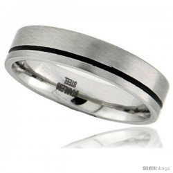 Surgical Steel 6mm Wedding Band Ring Black Stripe matte Finish Comfort-Fit