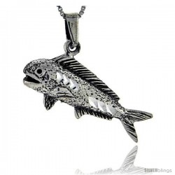 Sterling Silver Tuna Fish Pendant, 1 1/16 in tall