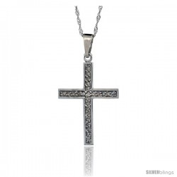 14k White Gold 18 in. Chain & 15/16 in. (24mm) tall Diamond Latin Cross Pendant, w/ 0.15 Carat Brilliant Cut Diamonds