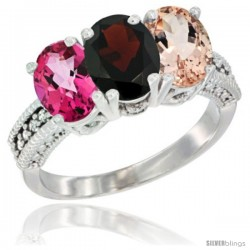 10K White Gold Natural Pink Topaz, Garnet & Morganite Ring 3-Stone Oval 7x5 mm Diamond Accent