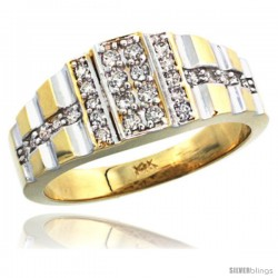 14k Gold Men's Striped Diamond Ring, w/ 0.45 Carat Brilliant Cut ( H-I Color VS2-SI1 Clarity ) Diamonds, 3/8 in. (10mm) wide
