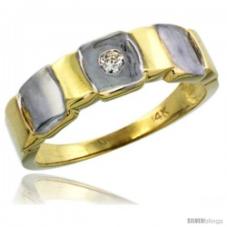 14k Gold Men's Diamond Ring w/ 0.06 Carat Brilliant Cut ( H-I Color SI1 Clarity ) Diamond, 1/4 in. (7mm) wide