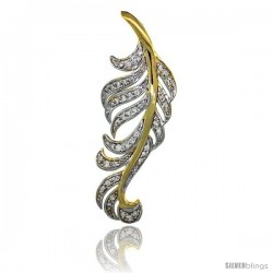 14k Gold 18 in. Thin Chain & Large Leaf Diamond Pendant w/ 0.48 Carat Brilliant Cut ( H-I Color VS2-SI1 Clarity ) Diamonds