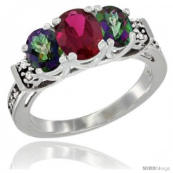14K White Gold Natural High Quality Ruby & Mystic Topaz Ring 3-Stone Oval with Diamond Accent