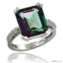 14k White Gold Diamond Mystic Topaz Ring 5.83 ct Emerald Shape 12x10 Stone 1/2 in wide