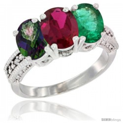 14K White Gold Natural Mystic Topaz, Ruby & Emerald Ring 3-Stone 7x5 mm Oval Diamond Accent