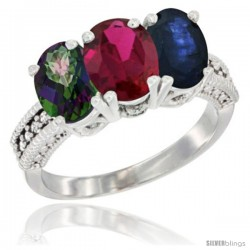 14K White Gold Natural Mystic Topaz, Ruby & Blue Sapphire Ring 3-Stone 7x5 mm Oval Diamond Accent