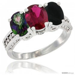 14K White Gold Natural Mystic Topaz, Ruby & Black Onyx Ring 3-Stone 7x5 mm Oval Diamond Accent
