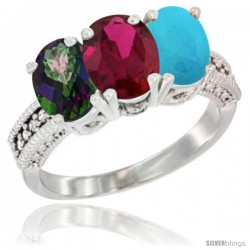 14K White Gold Natural Mystic Topaz, Ruby & Turquoise Ring 3-Stone 7x5 mm Oval Diamond Accent